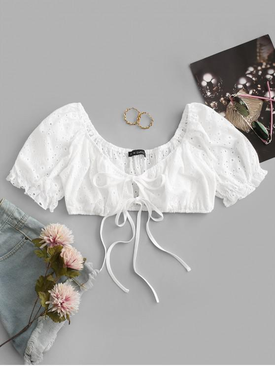 ladies ZAFUL Broderie Anglaise Puff Sleeve Crop Tie Blouse - WHITE M
