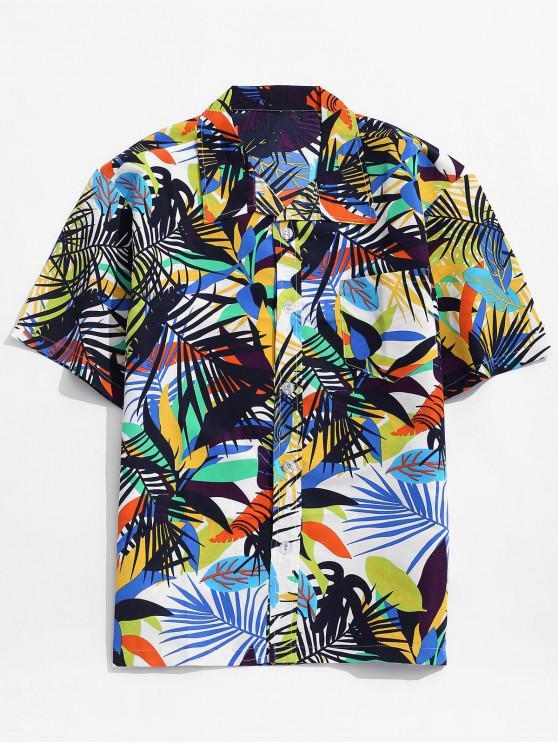 Camisa de Vacación Patrón Colorido Hojas - Multicolor-A XL