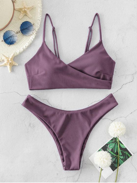 trendy ZAFUL Ribbed High Leg Surplice Bikini Swimsuit - DULL PURPLE M