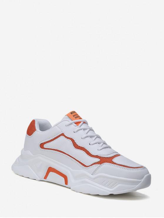 Contrast Tapiserie din piele Platforma sneakers - Portocale UE 43