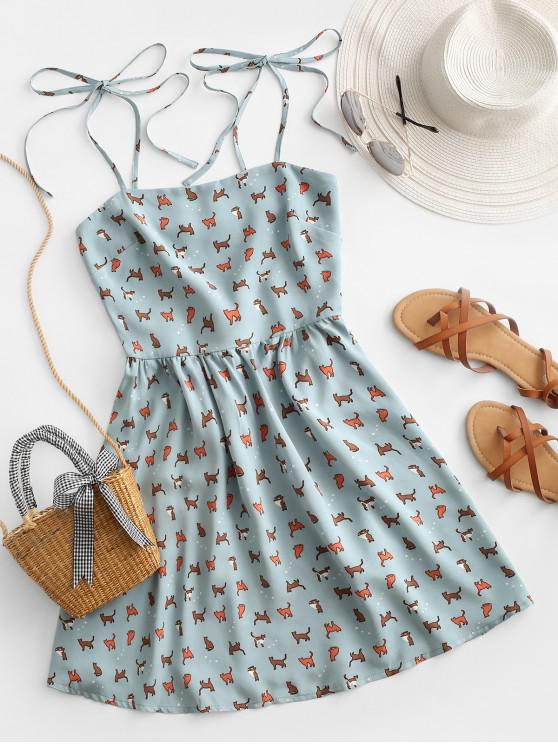 lady ZAFUL Cat Print Tie Shirred Sundress - BABY BLUE M