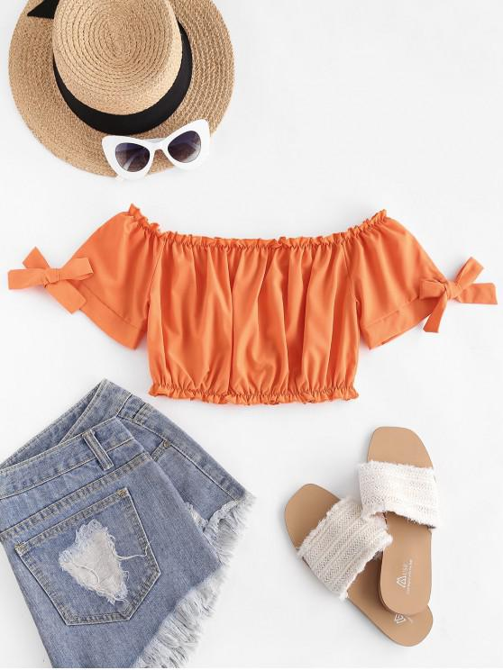 women's Tie Sleeve Cropped Off Shoulder Blouse - MANGO ORANGE L