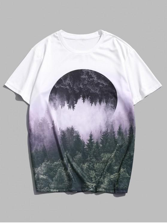 womens Reflected Forest Landscape Graphic Casual Crew Neck Tee - MULTI L
