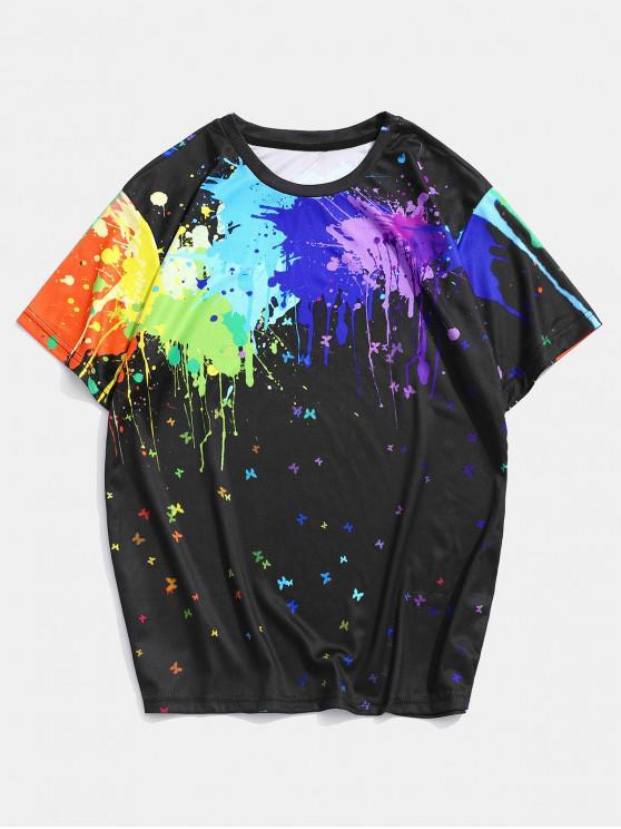 Splatter Farben Schmetterling Druck Lounge Rundhalsausschnitt T-Shirt - Multi 2XL