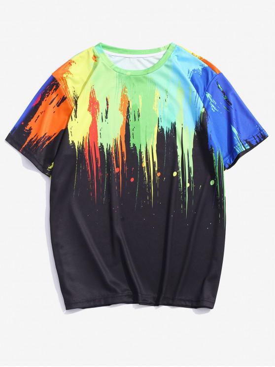 shop Splatter Paint Print Short Sleeve Lounge Tee - MULTI 3XL