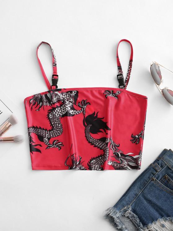 buy Dragon Print Push Buckle Oriental Crop Cami Top - RED M