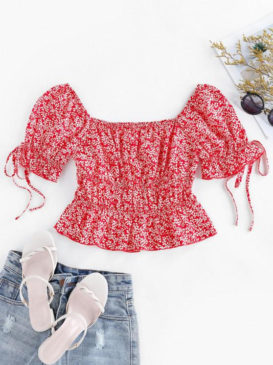 fashion ZAFUL Ditsy Print Flounced Blouse - CHERRY RED S