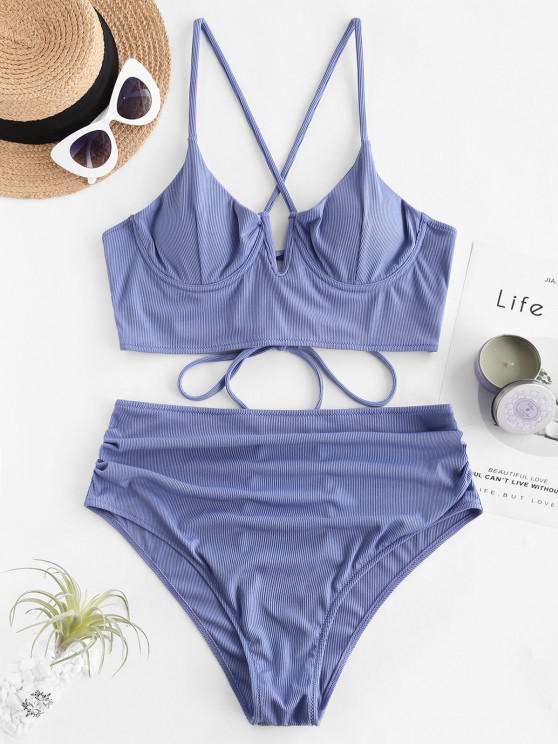 ZAFUL Plus Size Ribbed Lace Up V Cut Push Up Tankini Swimwear - سماء الأزرق XL