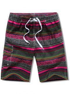 Flap Pocket Drawstring Striped Swimming Board Shorts - Rose Red 3xl