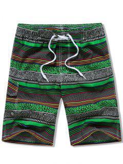 Pantaloncini Da Spiaggia A Righe Con Coulisse E Tasca Con Patta - Verde 3xl