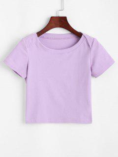 T-shirt Court En Couleur Unie Avec Bouton - Pourpre  S