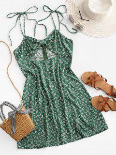 ZAFUL Ditsy Print Cutout Knotted Slit Dress - Sea Turtle Green S