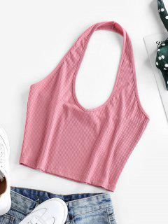 ZAFUL Ribbed Halter Crop Top - Blush Red S
