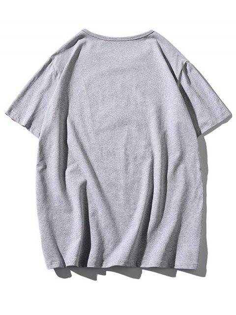 T-shirt Ours Dessin Animé Imprimé à Col Rond - Gris Clair 3XL Mobile