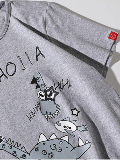 T-shirt Casual com Impressão de Girafa de Desenhos Animados - Cinza claro 3XL Mobile