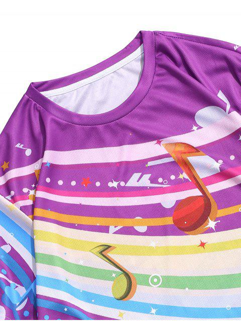 online Colorful Music Note Print Casual Crew Neck T Shirt - MULTI L Mobile