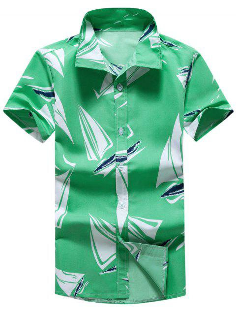 affordable Turn-down Collar Graphic Print Shirt - CYAN OPAQUE 2XL Mobile