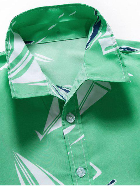 Camicia con Stampa Grafica e Colletto Rovesciabile - Cyan Opaco 3XL Mobile