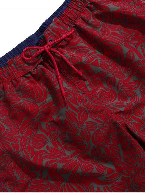 Tunnelzug All Day Blumen Gedruckte Strand Shorts - Roter Wein 3XL Mobile
