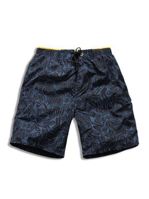 Tunnelzug All Day Blumen Gedruckte Strand Shorts - Kadettenblau XL Mobile