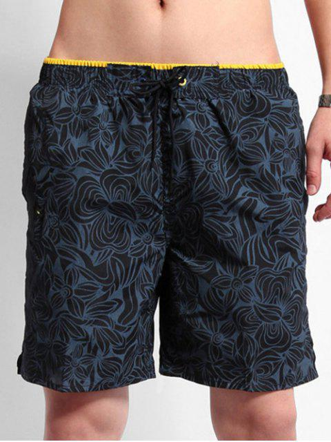 Tunnelzug All Day Blumen Gedruckte Strand Shorts - Kadettenblau 2XL Mobile