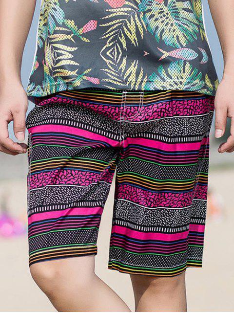 Shorts de Playa de Rayas con Cordones en Bolsillo - Rosa Roja 3XL Mobile