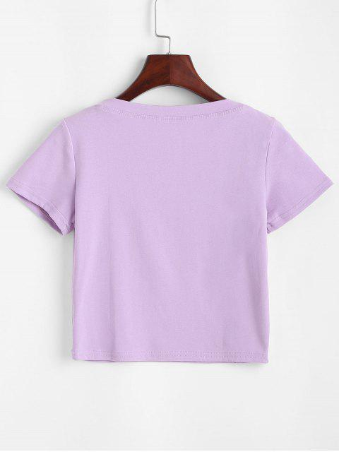 Knopf Einfarbige Crop T-Shirt - Lila S Mobile