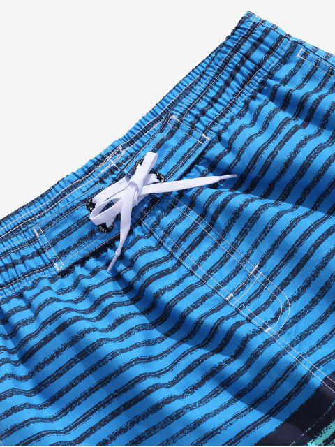 Shorts de Playa de Bloqueo de Color a Rayas - Azul de Dodgers XL Mobile