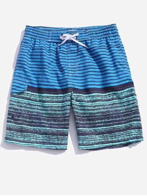 Colorblock Stripes Board Shorts - المراوغ الأزرق 2XL Mobile