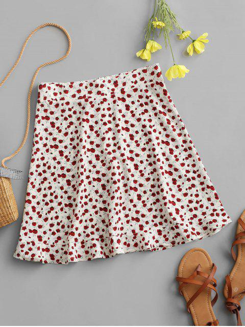 latest Tiny Floral Ruffles Mini Skirt - WHITE L Mobile