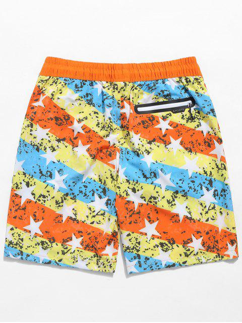 Tunnelzug 3D Eagle Sterndruck Schwimmen Strand Shorts - Kürbis Orange 3XL Mobile
