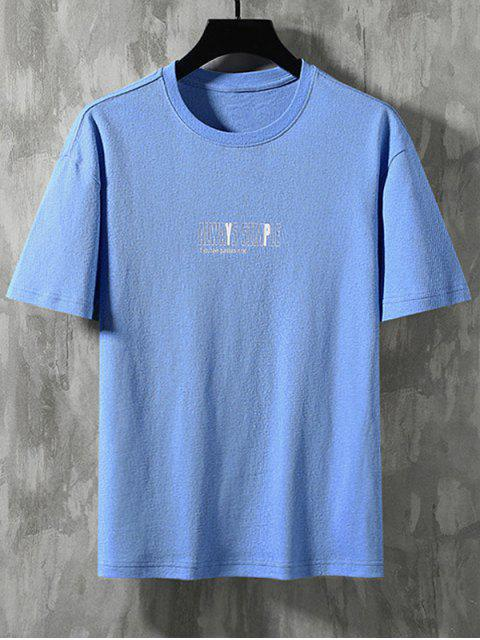 best Always Simple Graphic Basic T-shirt - AZURE 2XL Mobile