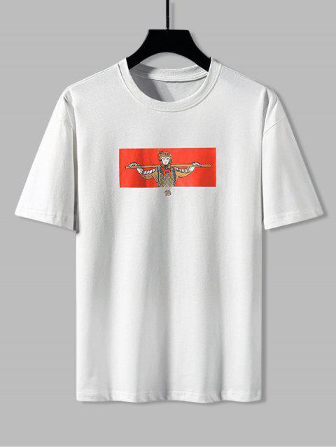 Cartoon Wukong Graphic Basic T-shirt - أبيض XS Mobile