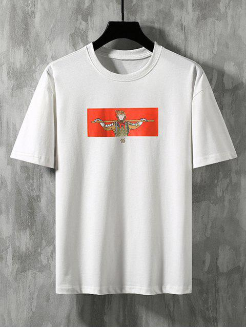 best Cartoon Wukong Graphic Basic T-shirt - WHITE XS Mobile