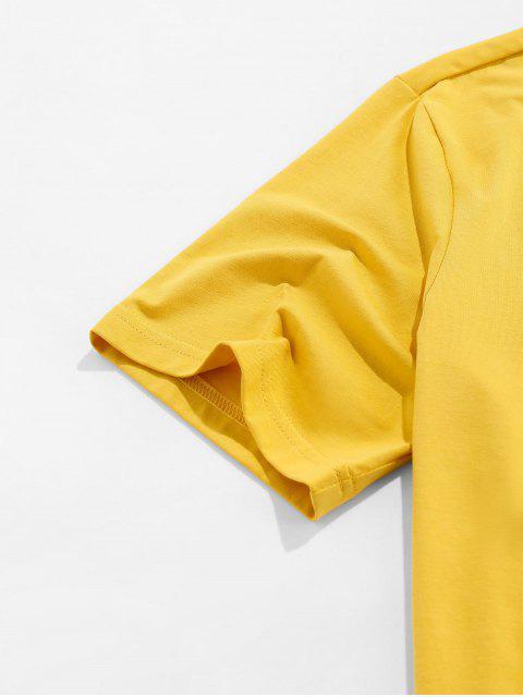 T-Shirt Basic con Stampa Banana di ZAFUL - Giallo XL Mobile