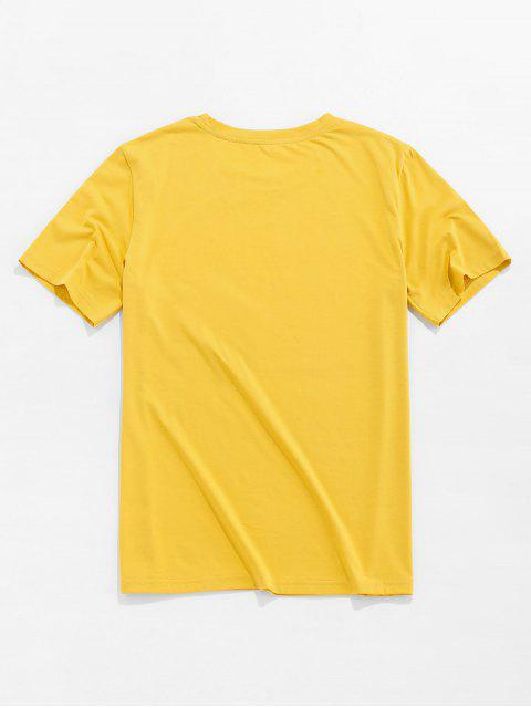 ZAFUL Cartoon Banana Basic T-shirt - الأصفر XL Mobile