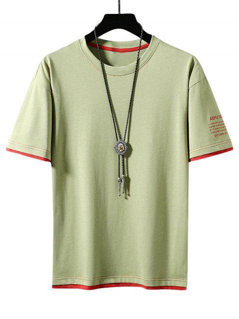best Letter Print Colorblock Ringer T-shirt - GREEN YELLOW XS Mobile
