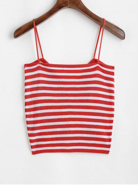 ZAFUL Camiseta de Malha Listrada Enrugado - Castanha Vermelha Um Tamanho Mobile
