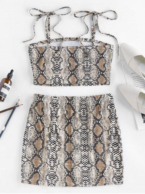 lady ZAFUL Snakeskin Tie Shoulder Mini Skirt Set - MULTI-A M Mobile