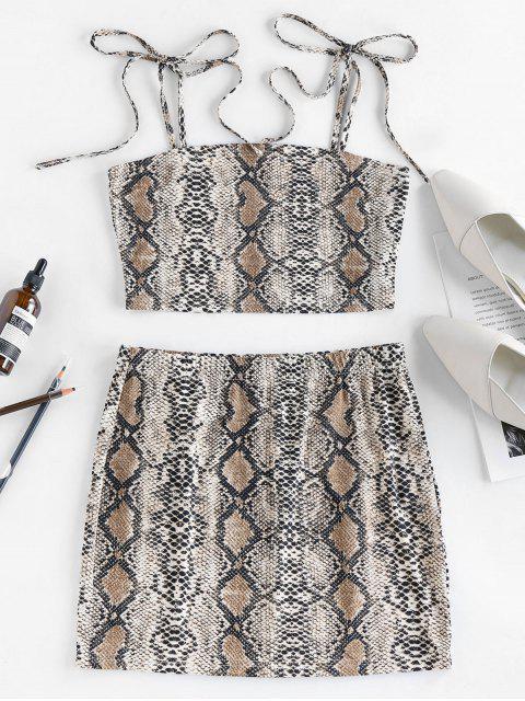 shops ZAFUL Snakeskin Tie Shoulder Mini Skirt Set - MULTI-A L Mobile