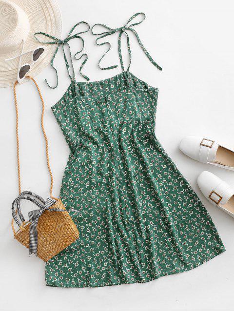 new ZAFUL Tie Shoulder Tiny Floral Mini Dress - SEA TURTLE GREEN S Mobile