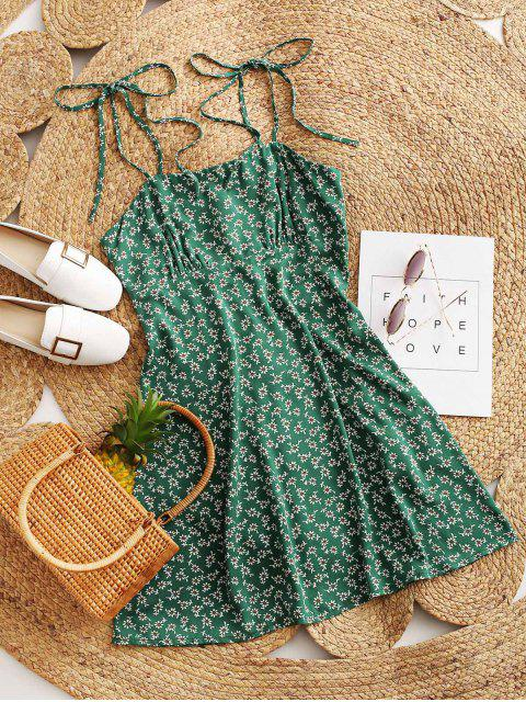 chic ZAFUL Tie Shoulder Tiny Floral Mini Dress - SEA TURTLE GREEN L Mobile