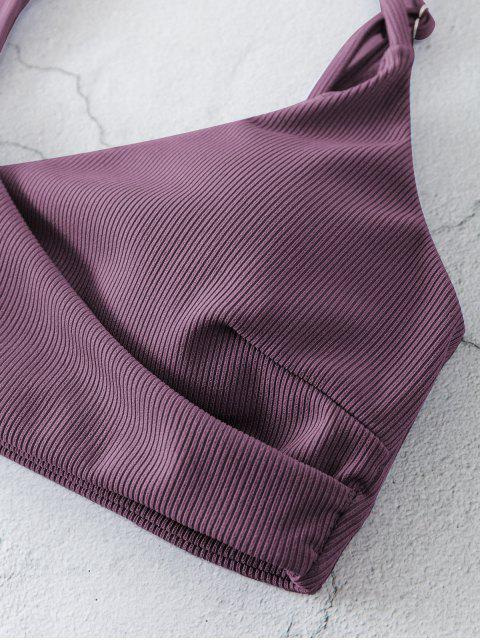 ZAFUL Maillot de Bain Bikini Côtelé Superposé à Jambe Haute - Violet Terne M Mobile