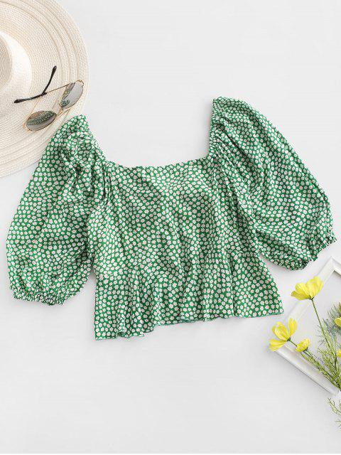 buy ZAFUL Ditsy Print Tie Front Peplum Blouse - CLOVER GREEN L Mobile