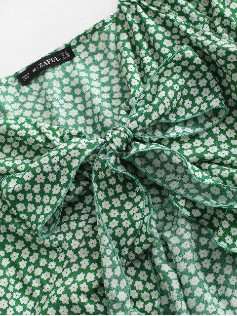 shop ZAFUL Ditsy Print Tie Front Peplum Blouse - CLOVER GREEN XL Mobile