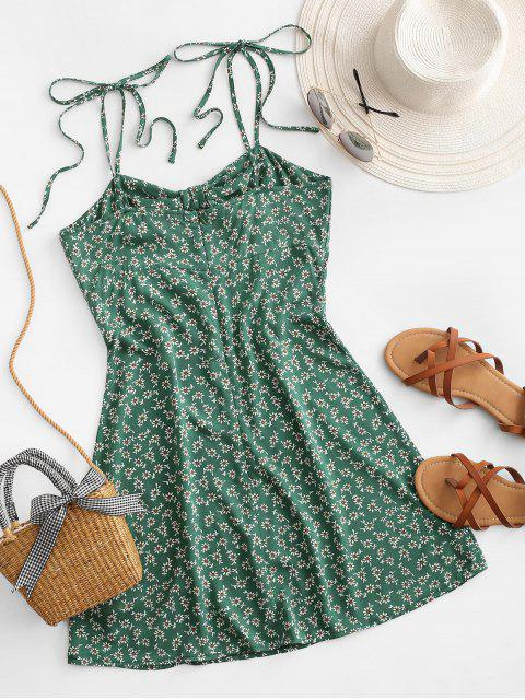 affordable ZAFUL Ditsy Print Cutout Knotted Slit Dress - SEA TURTLE GREEN XL Mobile