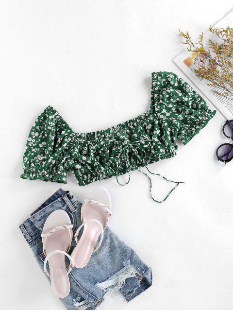 fashion ZAFUL Ditsy Print Ruffle Crop Blouse - LIGHT SEA GREEN L Mobile