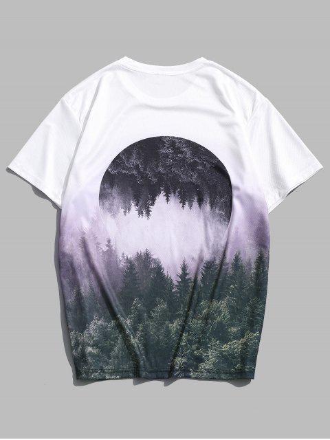 Camiseta Cuello Redondo Estampado Bosque Gráfico Paisaje - Multicolor XL Mobile