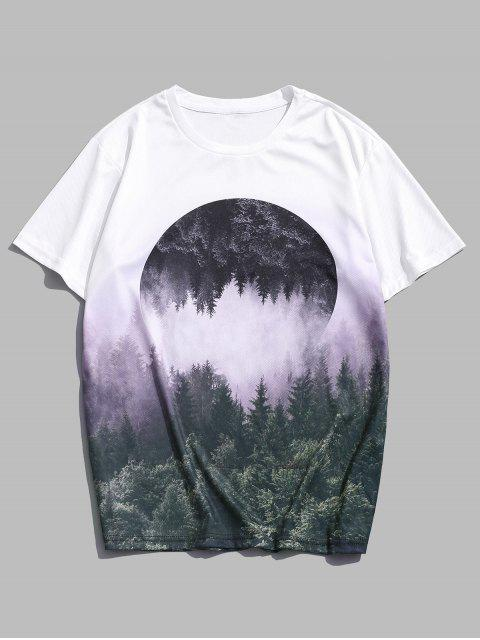 womens Reflected Forest Landscape Graphic Casual Crew Neck Tee - MULTI L Mobile