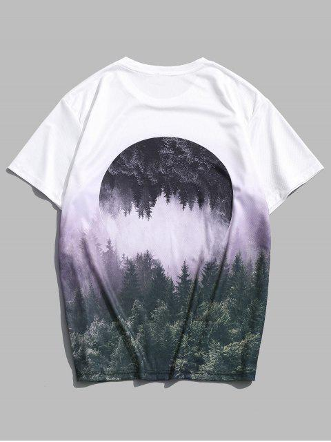 buy Reflected Forest Landscape Graphic Casual Crew Neck Tee - MULTI M Mobile